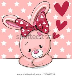 Illustration of Cute Cartoon Rabbit with hearts on a pink background vector art, clipart and stock vectors. Bunny Images, Cute Images, Kids Cartoon Characters, Cartoon Kids, Bunny Drawing, Dibujos Cute, Cute Cartoon Animals, Cute Cartoon Wallpapers, Rabbits