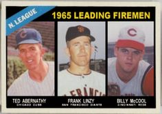 Baseball Cards That Never Were: 1966 Topps National League Leading Firemen. Ted Abernathy, Chicago Cubs, Frank Linzy, San Francisco Giants, Billy McCool, Cincinnati Reds
