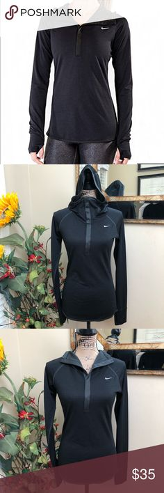 Nike running Dri-fit hooded half zip/snap shirt Nike running Dri-fit hooded 1/2 Zip/snap shirt. Perfect for chilly morning run Jersey style Adjustable snap closures Thumb holes Hooded Reflective silver on the back Has wool content for warmth  Perfect running shirt Pre-loved in excellent condition Pit to pit measurements lying flat 15 inches Some stretch Length inches front 25 inches back  Thank you for looking in our closet Please feel free to check out our other listings Nike Tops…