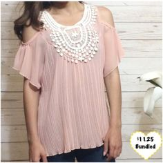 Blush Pleated Top Lightweight top. I bought it but never wore it. Wear with a tank under because it's on the sheer side. This item is available. Don't forget to check out my Deal of the Month listing ! Tops Blouses