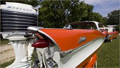 In the late fiberglass boat builders produced vessels with headlamps, tailfins and other flourishes borrowed from automotive design. Vintage Sled, Vintage Boats, Vintage Air, Boating Pictures, Car Camper, Campers, Glass Boat, Runabout Boat, Boat Fashion