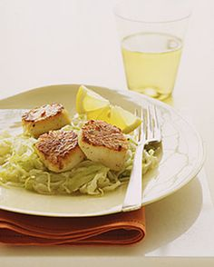 Seared Scallops with cabbage and leaks