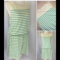"""J Crew Striped Tank Dress size M(runs big)see  J Crew Striped Tank Dress size M (runs big) •Measures 18"""" pit to pit x 35""""L (Drawstring waist) •Condition Very Good •Fabric Cotton/Spandex •Color Off/white sea foam  •Front pockets  Make an Offer. No Trades/PP Thanks for Looking! J. Crew Dresses"""