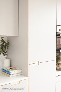 This Plykea kitchen features Fox Formica fronts with our semi-recessed handles a quartz worktop and a grey cat - www.plykea.com