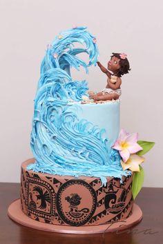 Beautiful Birthday Kids Cake, Disney Moana Cake and a Big Wave, Boy or Girl Birthday Cake - Cute Cakes, Pretty Cakes, Beautiful Cakes, Amazing Cakes, Fancy Cakes, Bolo Tumblr, Bolo Moana, Pinterest Cake, Cake Wrecks