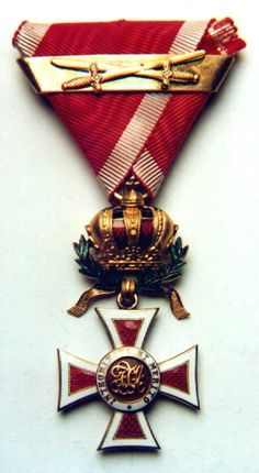 Leopold Order, Knights' Cross, with WD and  golden bar with swords. Obv.
