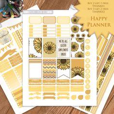 Sunflower Printable Planner stickers HAPPY by PrintThemAllStudio
