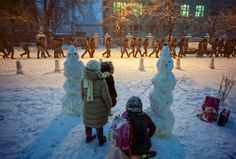 EuroMaidan; Kyiv, Ukraine 2013 - The scene close to the presidential administration building in Kyiv.