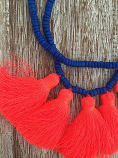 Beaded Tassel Necklace with Five Chunky bright Tassels - Ladies Statement Jewelry