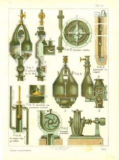 Technical Drawing Antique Pumps 110 Years Old by CarambasVintage, $16.00