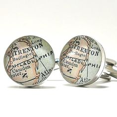 GREAT gift idea for my boys.....Philadelphia 1899 Antique Map Cufflinks by dlkdesigns on Etsy, $60.00