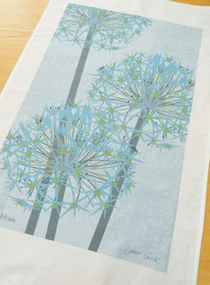 Winter Allium 100 Cotton Tea Towel  READY TO SHIP by JaneCrick, £9.95