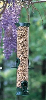 """Super Seed Feeder - Super Seed Feeder. Easy cleaning. 15"""" H.Clear polycarbonate with brass, aluminum and stainless steel hardware."""