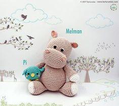 Patrón amigurumi de el hipopótamo Melman y su amigo Pi Patrón amigurumi con el paso a paso para hacer un lindo hipopotamo Melman y su amigo Pi.