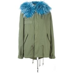 Mr & Mrs Italy Raccoon Fur Trim Parka featuring polyvore, women's fashion, clothing, outerwear, coats, green, green parka coat, parka coat, green parka, cotton coat and cotton parka