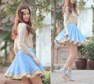 H Golden Flower Headband, Gold Blouse, Gia London Bluebell Gota Skirt, Accessorize Heart Socks, Giuseppe Zanotti Nude Pumps