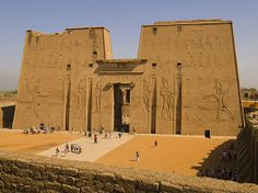 The Temple of Edfu is an ancient Egyptian temple located on the west bank of the Nile in the city of Edfu which was known in Greco-Roman times as Apollonopolis Magna, after the chief god Horus-Apollo. It is one of the best preserved temples in Egypt. The temple, dedicated to the falcon god Horus, was built in the Ptolemaic period between 237 and 57 BCE.
