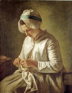 Francois DuParc (French painter, 1705-1788) Woman Knitting