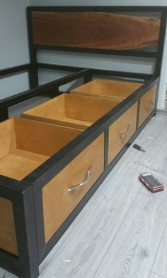 Steel frame bed with storage live edge headboard