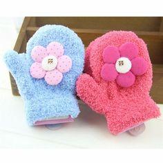 Kids Baby Warm Gloves Winter Mittens Coral Fleece Cute Knitted Sunflower Gloves - Gchoic.com