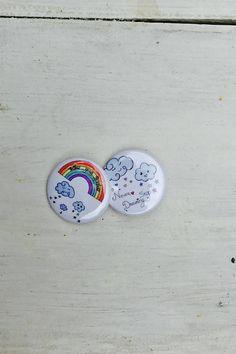 Rainbow pins rainbow buttons rain cloud pin buttons pin