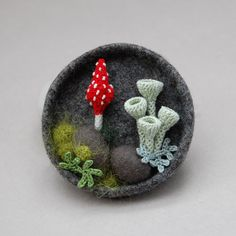 felt and crochet brooch