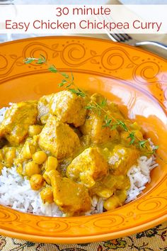 30 minute Easy Chicken Chickpea Curry - add a major flavour boost to this super easy & delicious mid week meal that you can have on the table in no time. Chickpea Recipes, Healthy Recipes, Weeknight Recipes, Meat Recipes, Healthy Meals, Healthy Food, Dinner Recipes, Chicken And Chickpea Curry, Chicken