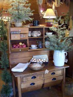 Potbelly hoosier Love it. Primitive Cabinets, Primitive Furniture, Primitive Antiques, Primitive Country, Primitive Decor, Primitive Christmas, Country Christmas, All Things Christmas, Christmas Home