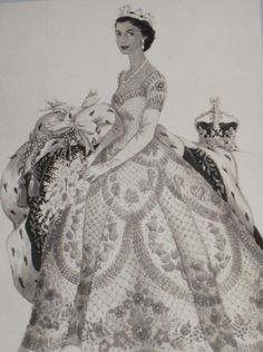 Norman Hartnell, design sketch - 1953 - for Queen Elizabeth II's Coronation