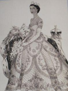 Norman Hartnell, design sketch - 1953 - for Queen Elizabeth II's Coronation