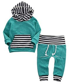 Newborn Baby Boy Girl Warm Striped Hoodie Tshirt Pants Outfit Set Kids Clothes -- Want to know more, click on the image.Note:It is affiliate link to Amazon.