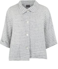Oska Grey Stripe Linen Jacket
