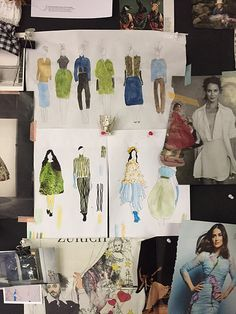Fashion-Pinboard with my fashion sketches, Cordula Opitz