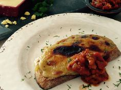 Welsh Rarebit - toasted cheese with a delicious twist. Served with my homemade tomato relish.