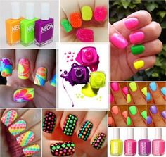 uñas decoradas neon