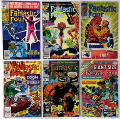 The Fantastic Four Lot of 6 Bronze/Copper Age 1975-91 Marvel Comic Books 222 286 317 319 350 Giant 5