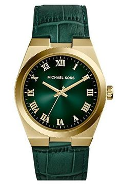 cdf388628040 Michael Kors MK2356 - Ladies Mid-Size Green Leather Channing Three-Hand  Watch