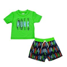 """Perfect for a day at sea, your little dude will stay protected from sun and sand in this surf themed rash guard set<br><ul><li>UPF 50+ protection</li><br><li>Quick-drying fabric keeps him comfy</li><br><li>Keeps him warm in cool water</li><br><li>Matching swim trunks with adjustable elastic waist</li><br><li>Rash guard features """"HUNK"""" and surf board print</li><br><li>Rash guard, trunks, 83% polyester, 17% nylon; 100% polyester lining</li><br><li>Imported</li><br><li>Hand wash in cool water…"""