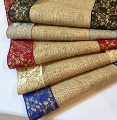 Burlap And Lace Table Runner Royal Blue Lace Wedding Table Runner - Select A Size - More Colors Avai Rustic Table, A Table, Burlap Lace Table Runner, Wedding Table, Lace Wedding, Concrete Crafts, Burlap Crafts, Diy Purse, Diy Pillows