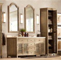 RH's Shutter Double Vanity Sink:Angled louvers, an architectural detail first used in ancient Greece, have found a new place in the bath.