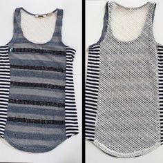 MEMORIAL DAY SALE✨MISS ME tank top✨ MISS ME stunning tank top!  Front is stripes of denim blue colors with navy sequin accent stripes.  Sides are navy/off white stripes.  Back is beautiful open crochet pattern with clear sequin accents throughout.  Machine washable.  Only worn one time - excellent condition.  PRICE IS FIRM Miss Me Tops Tank Tops