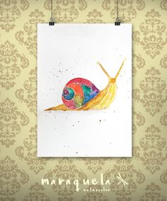 Art Print Snail Watercolor - Art decor, handmade, watercolor, painting, butterfly. Caracol hecho a mano.Técnica acuarela