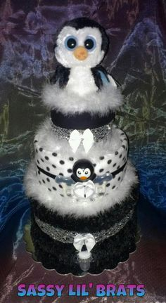 Black and White Penguin 3tier Diaper Cake by SassyLilBrats on Etsy, $90.00 WANT FOR MY BABY SHOWER!!!!! (Someday)