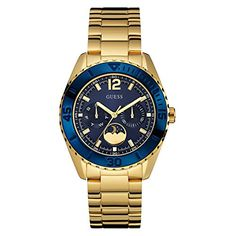 8e3452b050a Amazon.com  GUESS Women s U0565L4 Gold-Tone Multi-Function Watch with  Iconic Blue Moonphase Dial  Watches