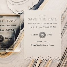 Stamp your Save the Date on any paper (or fabric) you want...even vintage postcards!