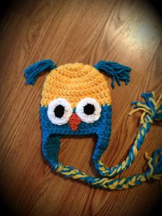Crochet Owl Hat Boy or Girl Yellow and by ShanHasYouInStitches, $18.00