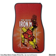 Iron Man Retro Comic Price Graphic Car Mat. Personalize these Classic Marvel character designs and make perfect gifts for any fans. #marvel #comic #gifts #birthday #birthdayparty #birthdaycard #personalize #kids #shopping