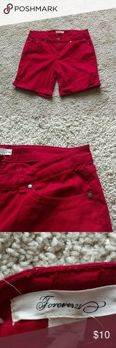 Thigh bermuda shorts Inseam: 7.5 inches. Truest color 6... It's a darker red not too dark but not as bright as the previous pictures. Soft and Stretchy. Shows wear in between thighs. Not quite Bermuda knee length but right above. Forever 21 Shorts Bermudas