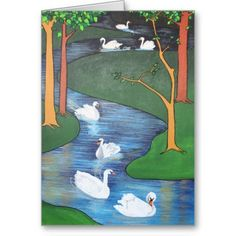 Seven Swans A-Swimming Cards