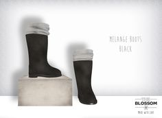 .The Blossom. Melange boots BLACK